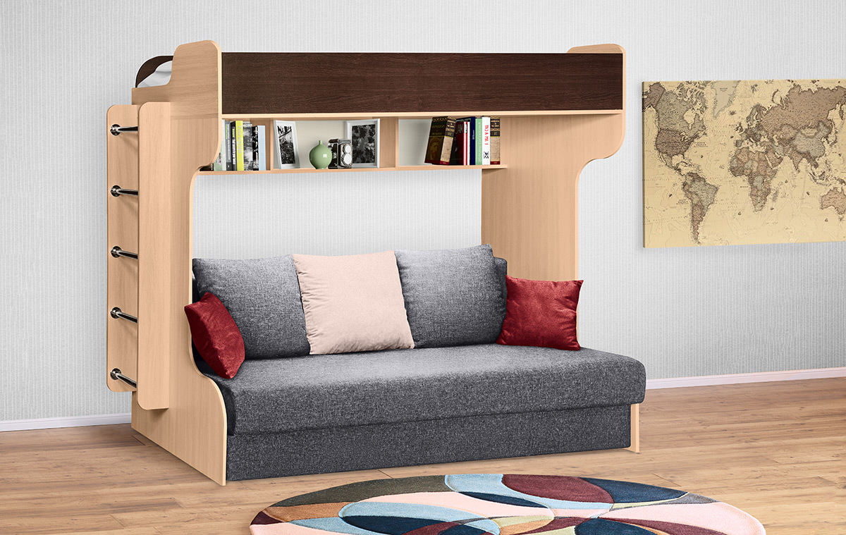 Кровать двухъярусная с диваном «Элиза Голд»