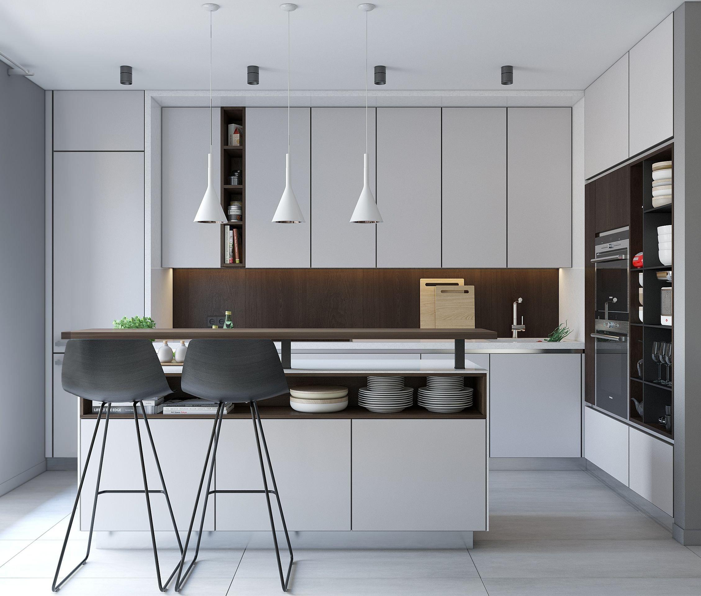 Кухня с гладкими фасадами из пластика HPL