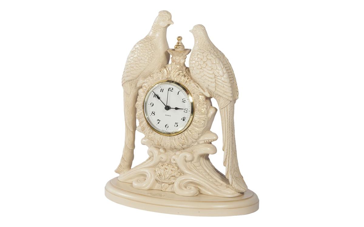 Часы настольные «Павлины Айвори»